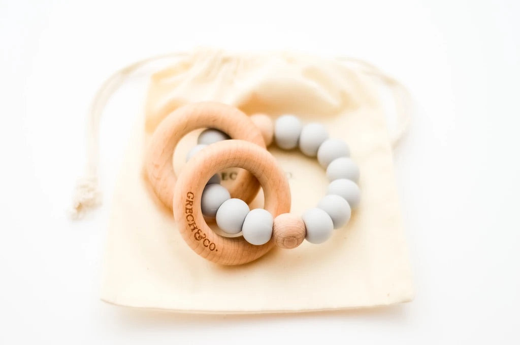 Grech & Co. - Sedona Teething Ring + Rattle | Glacier -  Little Pair