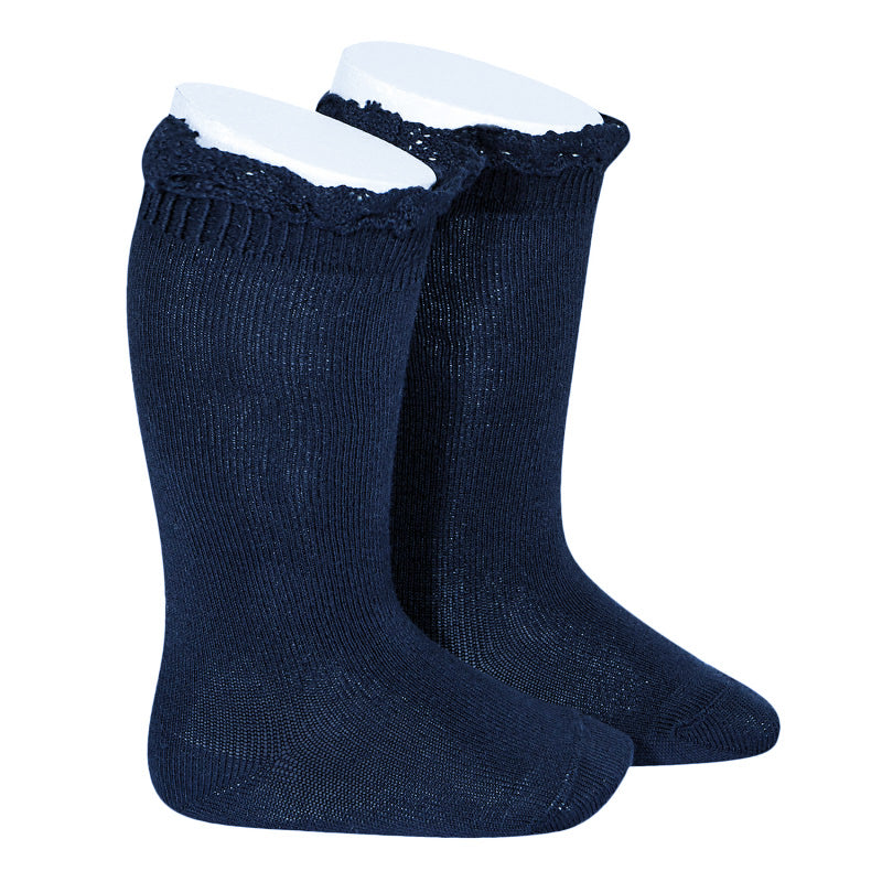 Navy Ruffle Knee Socks -  Little Pair