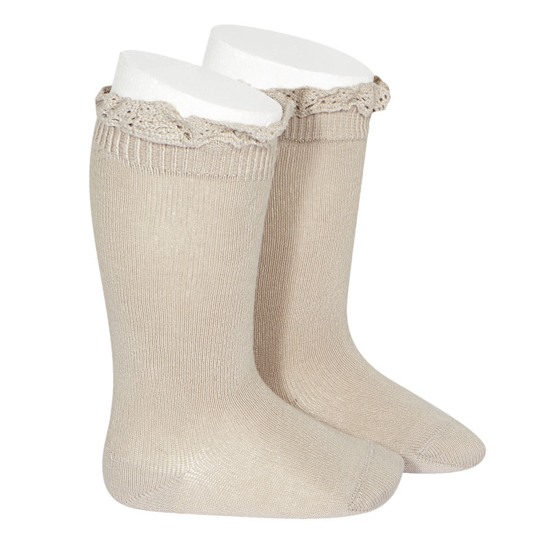 Mink Ruffle Knee Socks -  Little Pair