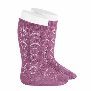 Berry Geometric Crochet Socks