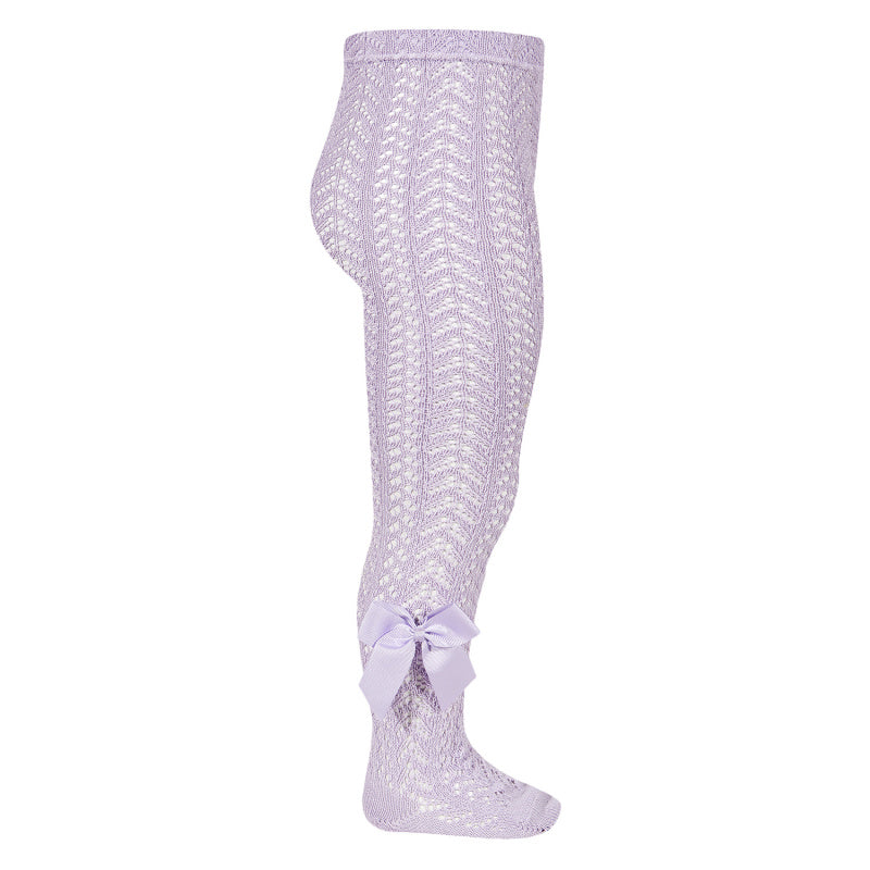 Orchid Crochet Tights with Bow
