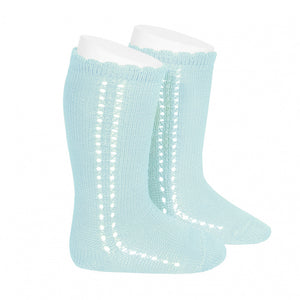 Aqua Side Openwork Knee highs