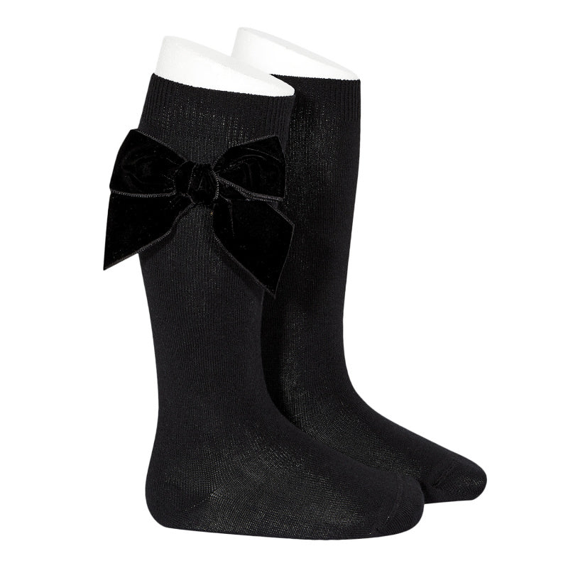 Midnight Side Velvet Bow Knee High Socks