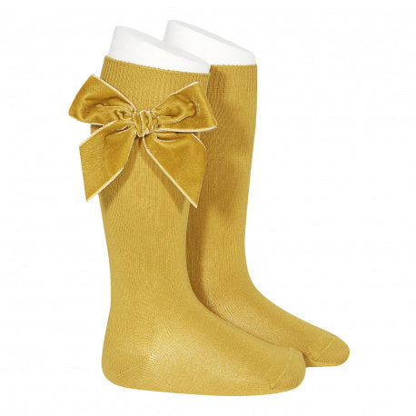 Mustard Side Velvet Bow Knee High Socks