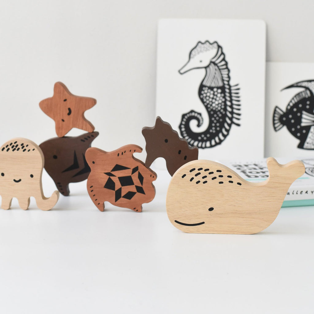Wee Gallery - Wooden Tray Puzzle - Ocean Animals -  Little Pair