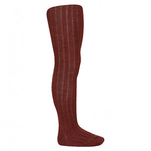 Granate Wool Ribbed Tights
