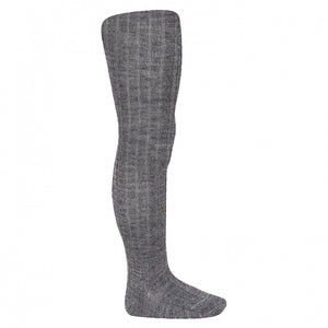 Asphalt Wool Ribbed Tights