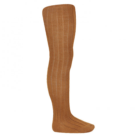Rust Wool Ribbed Tights