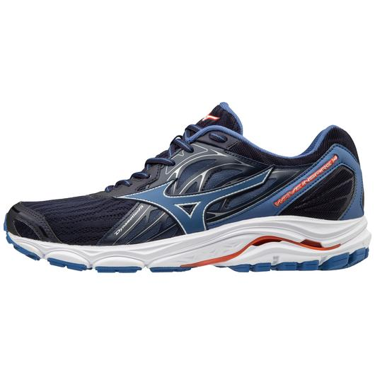 MIZUNO Mens Wave Inspire 14 Evening Blue/Cherry Tomato Shoes (410983-5V1T)