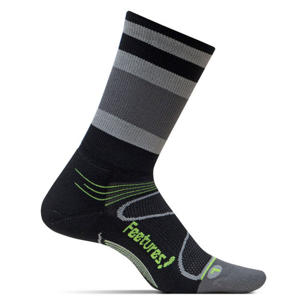 FEETURES Elite Light Cushion Unisex Black/Reflector Stripe Running Socks (E10089)
