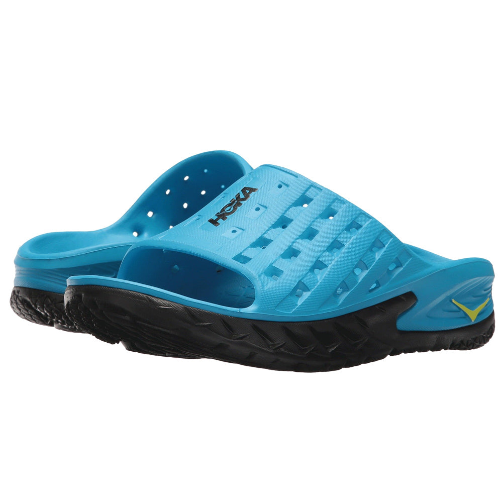 HOKA ONE ONE Women's Ora Recovery Slide Black Process Blue Sandal (1014865-BPSB)