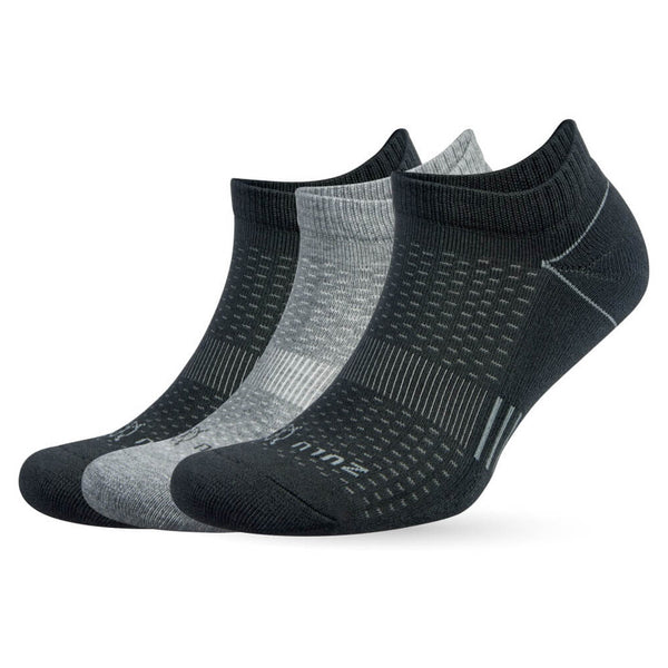 BALEGA Zulu 3 Pack Unisex Black & Grey Running Socks (8109-0300)
