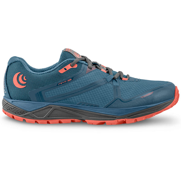 TOPO ATHLETIC Womens MT-3 Blue/Coral Running Shoe (W031-BLUCOR)