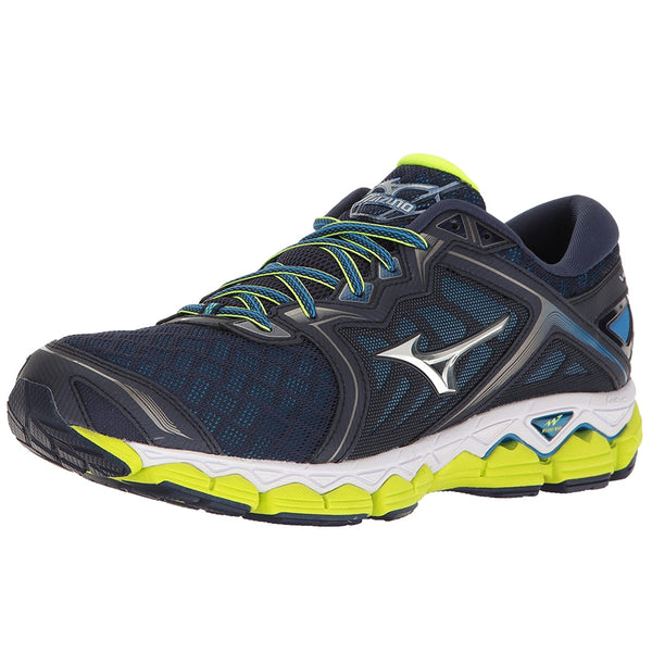 MIZUNO Mens Wave Sky Peacoat/Silver/Safety Yellow Running Shoes (410942-5873)