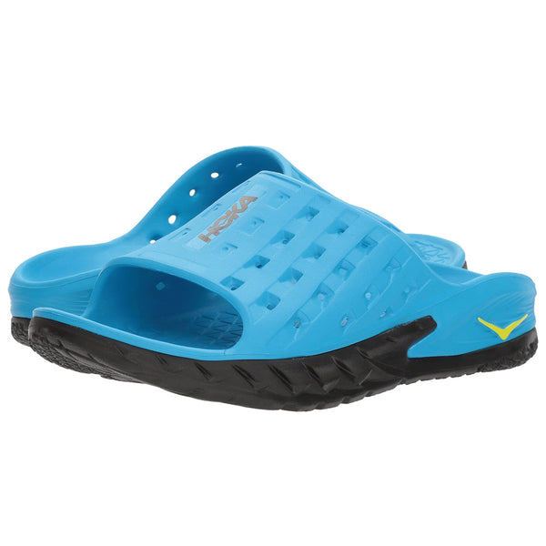 HOKA ONE ONE Men's Ora Recovery Slide Black Process Blue Sandal (1014864-BPSB)