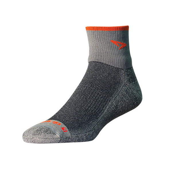 DRYMAX Maximum Protection Trail Run Unisex 1/4 Crew Turn Down Gray/Orange Running Socks (DMX-RUN-1212-P)