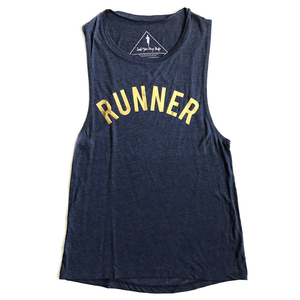 SARAH MARIE DESIGN STUDIO Womens Runner Heather Navy Muscle Tank (W-MTANK-RUNNER)