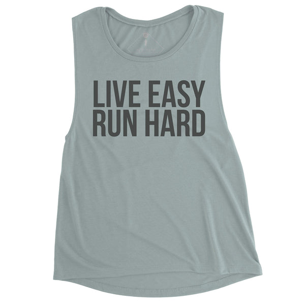 SARAH MARIE DESIGN STUDIO Womens Live Easy Run Hard Dusty Pine Muscle Tank (W-MTANK-LERH-DSTYBL)