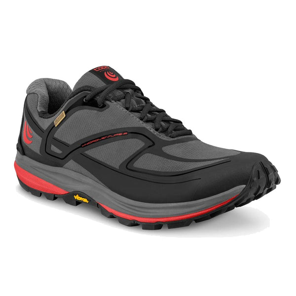 TOPO ATHLETIC Mens Hydroventure 2 Charcoal/Red Shoe (M027-CHARED)