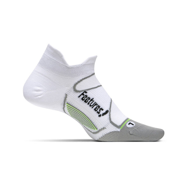 FEETURES Elite Ultra Light Unisex White/Black Running Socks (E55023)