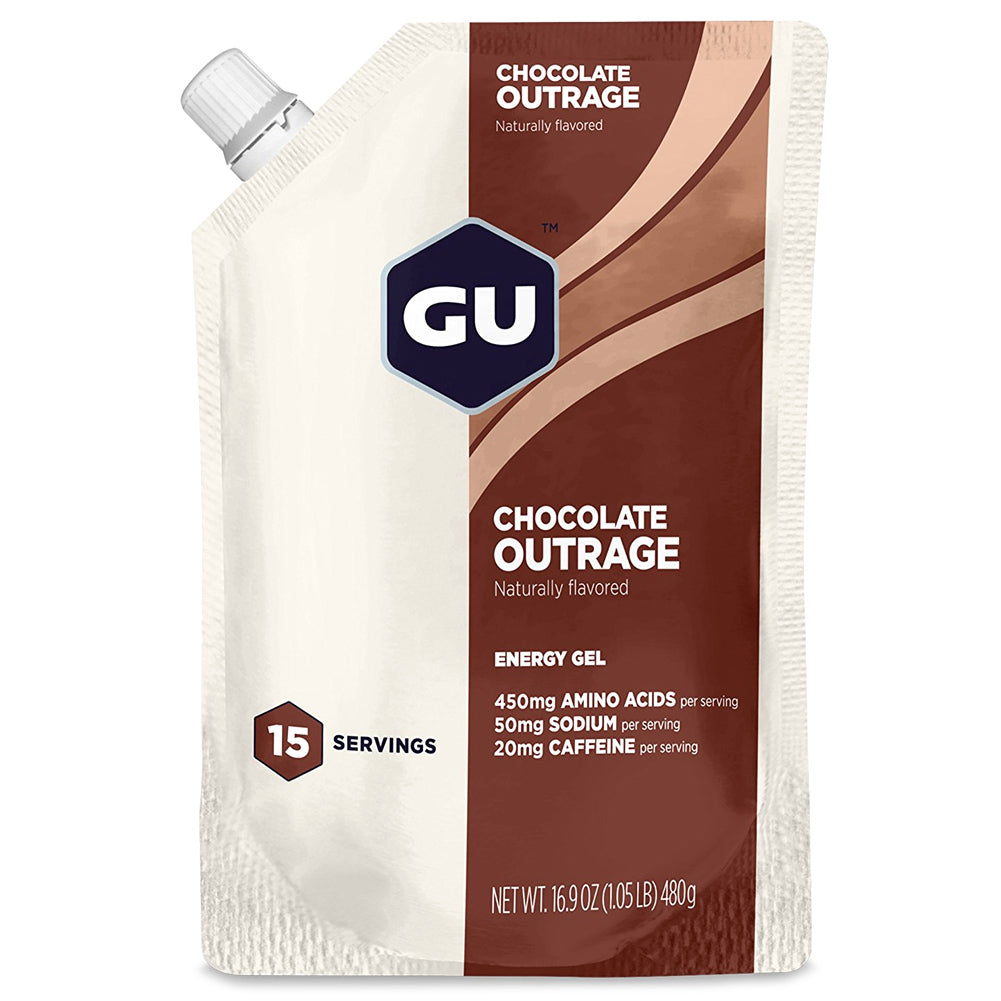 GU ENERGY Original Sports Nutrition Chocolate Outrage 15 Serving Packet Energy Gel (124252)