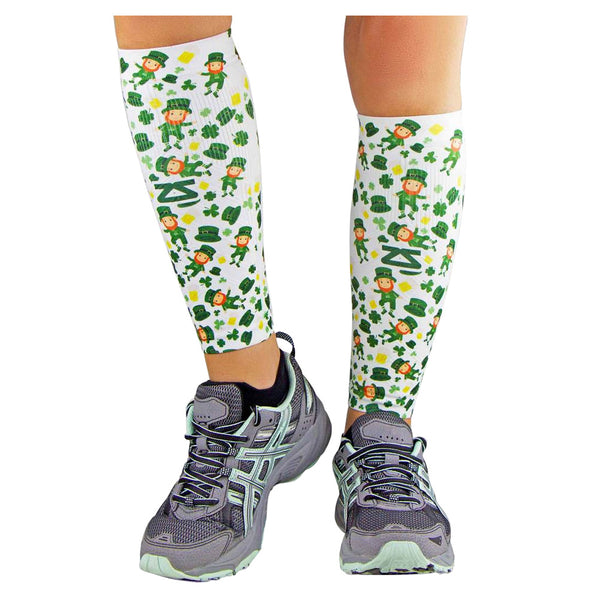 ZENSAH St. Patricks Day Compression Lucky Leprechaun/White Leg Sleeves (6365-434)