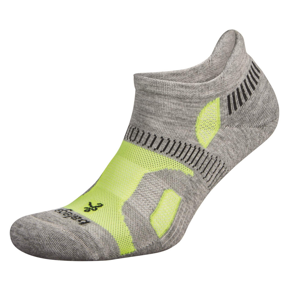 BALEGA Hidden Contour Unisex Mid Grey & Neon Lime Running Socks (8196-3128)