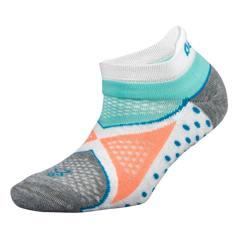 BALEGA Enduro No Show Womens White & Aqua Running Socks (7455-0200)