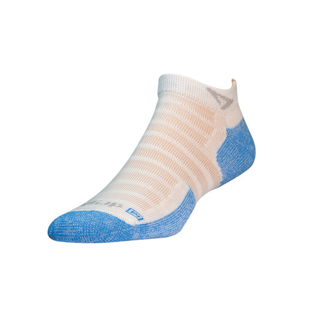 DRYMAX Hot Weather Run Unisex Mini Crew White/Blue Running Socks (DMX-RUN-1157-P)