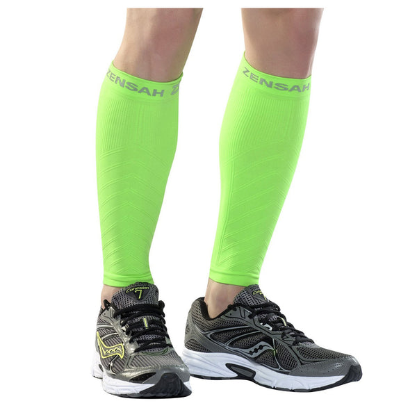 ZENSAH Compression Neon Green Leg Sleeves (6055-112)