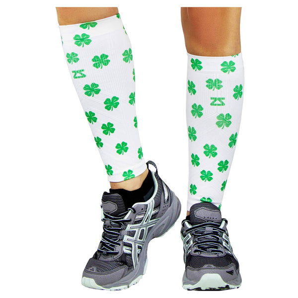 ZENSAH St. Patricks Day Compression Shamrock/White Leg Sleeves (6370-101)