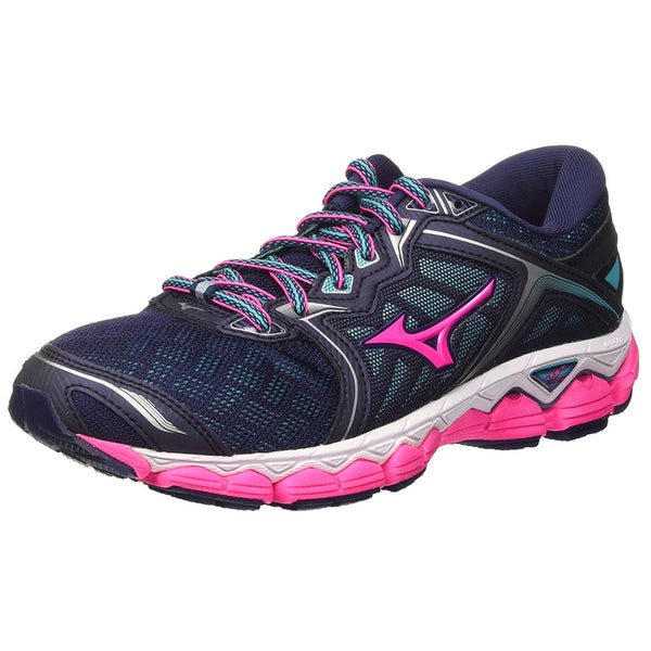 MIZUNO Womens Wave Sky Peacoat/Pink Glo/Ceramic Running Shoes (410943-581D)