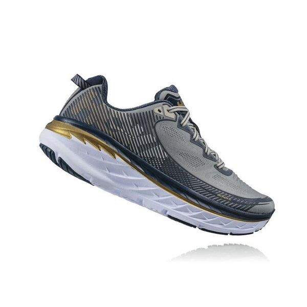 HOKA ONE ONE Bondi 5 Cool Gray, Midnight Navy Road Running Shoes (1014757-CGMN)