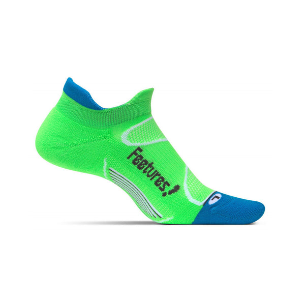 FEETURES Elite Light Cushion Unisex Volt/Carbon Running Socks (E50076)