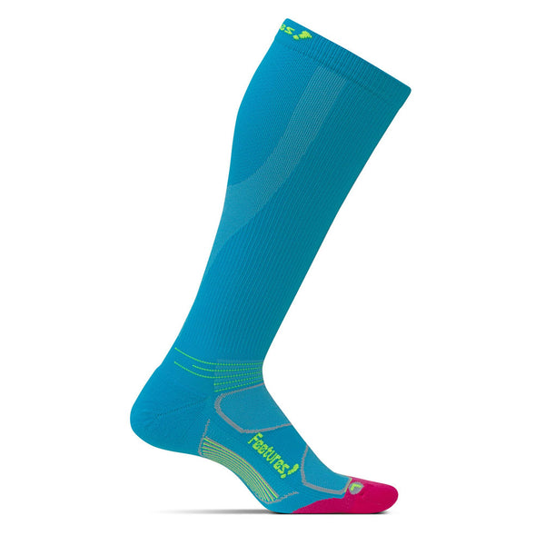 FEETURES Elite Light Cushion Womens Hawaiian Blue/Reflector Running Socks (PC60081)