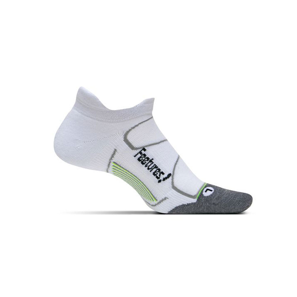 FEETURES Elite Max Cushion Unisex White/Black Running Socks (EC50023)
