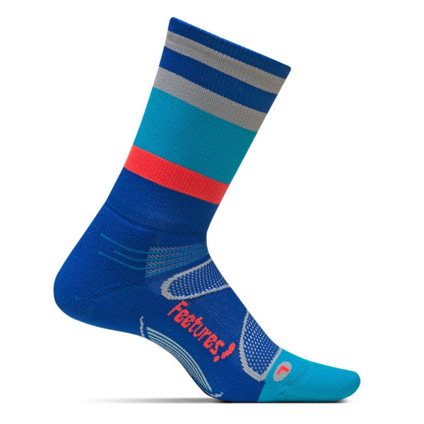 FEETURES Elite Light Cushion Unisex Cobalt/Lava Multi Stripe Running Socks (E10090)