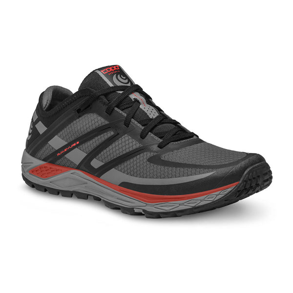 TOPO ATHLETIC Mens Runventure 2 Grey/Red Running Shoe (M022-GRYRED)