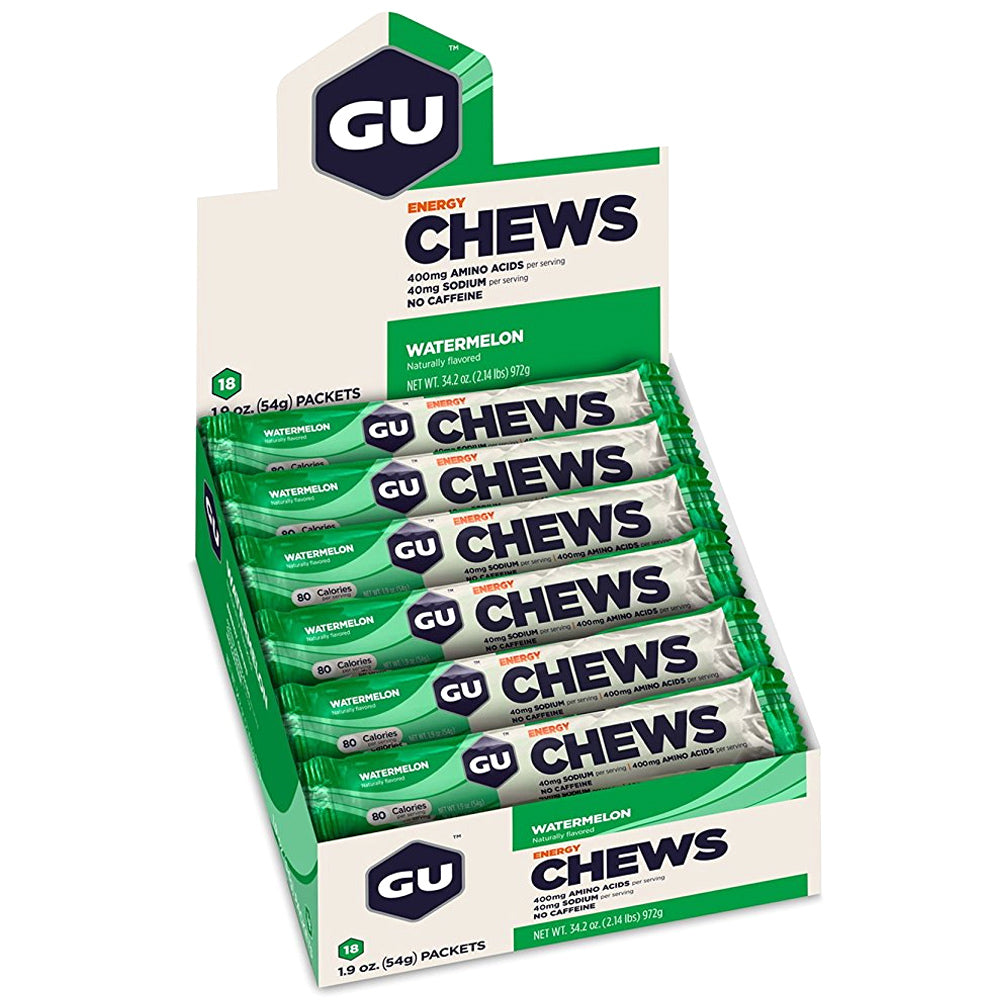 GU ENERGY Double-Serving Sleeve Watermelon 18-Pack Chews (124179)