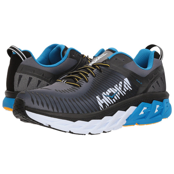 HOKA ONE ONE Men's Arahi 2 Black Charcoal Gray Shoe (1019275-BCCG)
