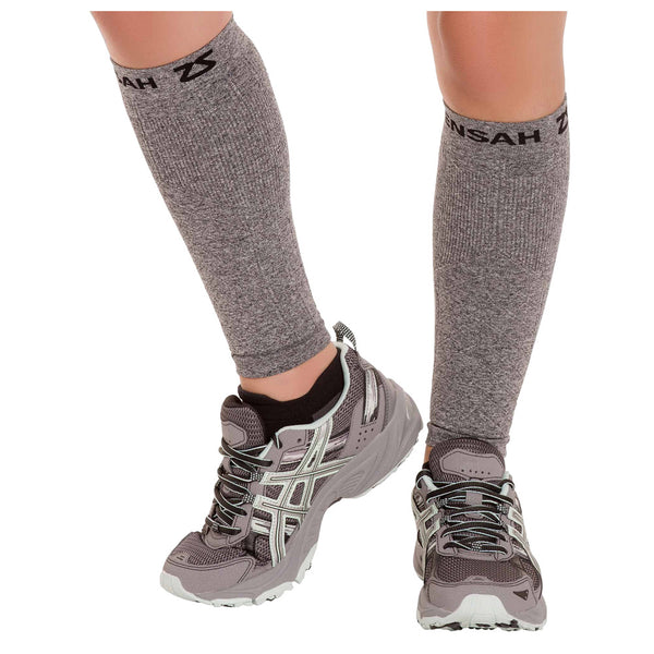 ZENSAH Compression Heather Grey Leg Sleeves (6055-141)