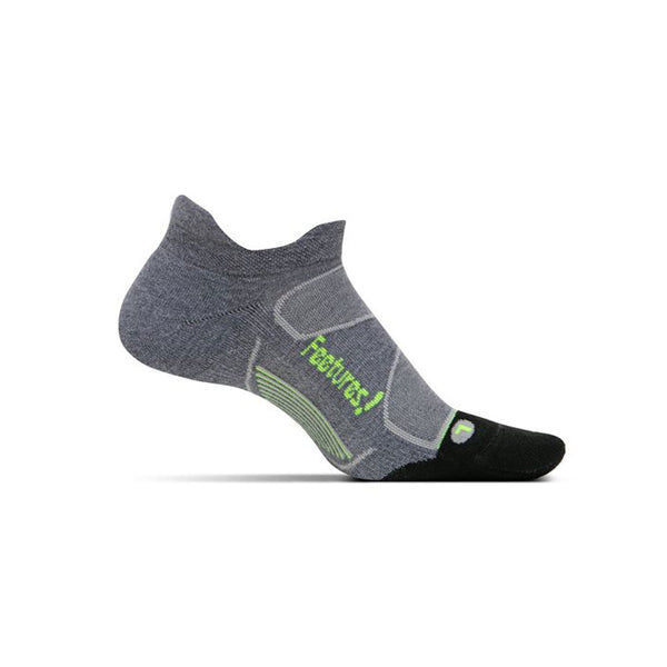 FEETURES Elite Max Cushion Unisex Heather Gray/Reflector Running Socks (EC50028)