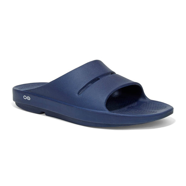 OOFOS OOahh Slide Unisex Navy Recovery Sandals (1100NVY)