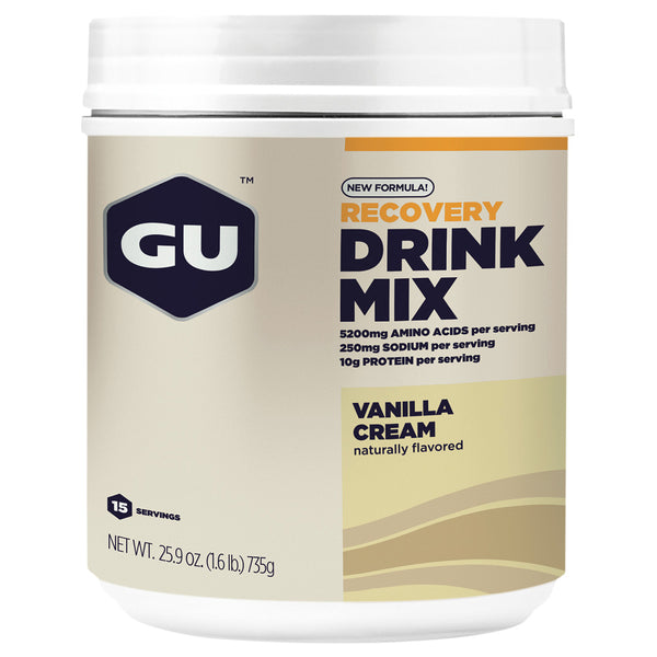 GU ENERGY Recovery Vanilla Cream 15 Serving Canister Protein Drink Mix (124080)