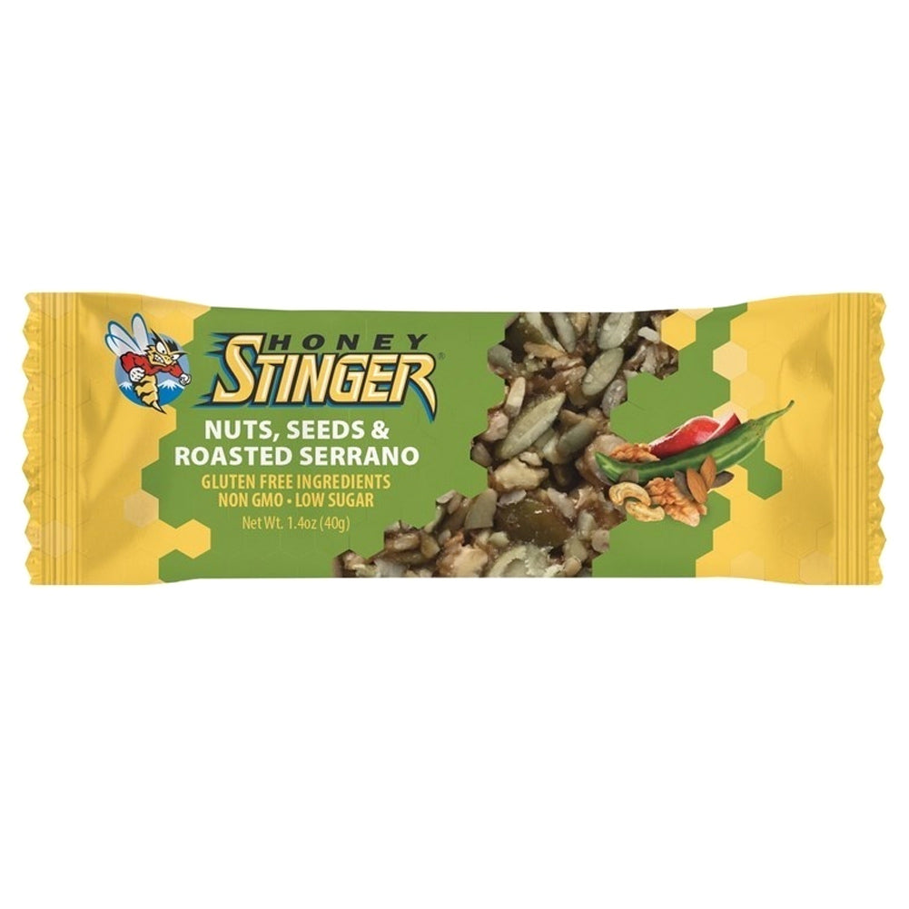 HONEY STINGER Low Sugar Nuts Seeds and Roasted Serrano 15-Pack Snack Bar (71115)
