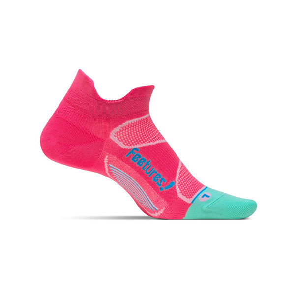 FEETURES Elite Ultra Light Womens Paradise Pink/Blue Lagoon Running Socks (E55086)