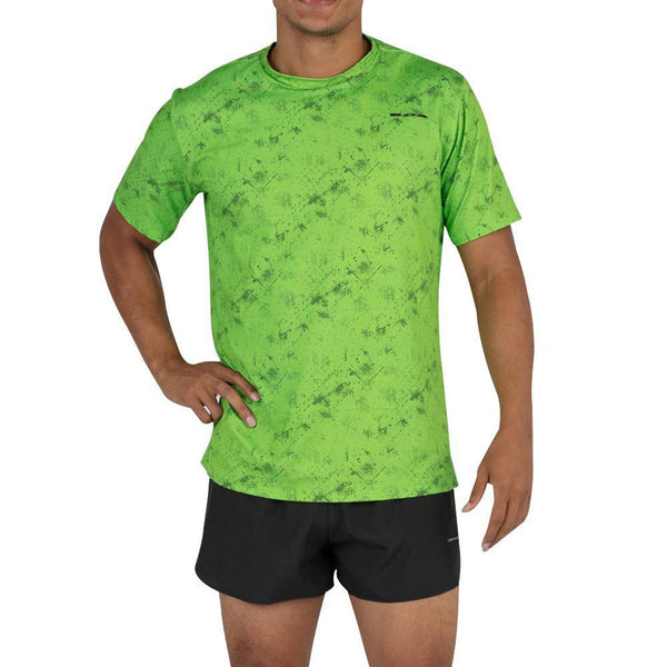 BOA Mens Hypersoft Illusion Lime Short Sleeve Running Shirt (2124HSP-ILLNB)