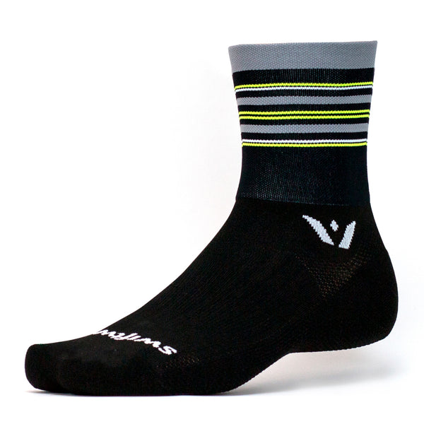 Swiftwick Aspire Four Black Gray Yellow Stripe Running Socks (4C180ZZ)