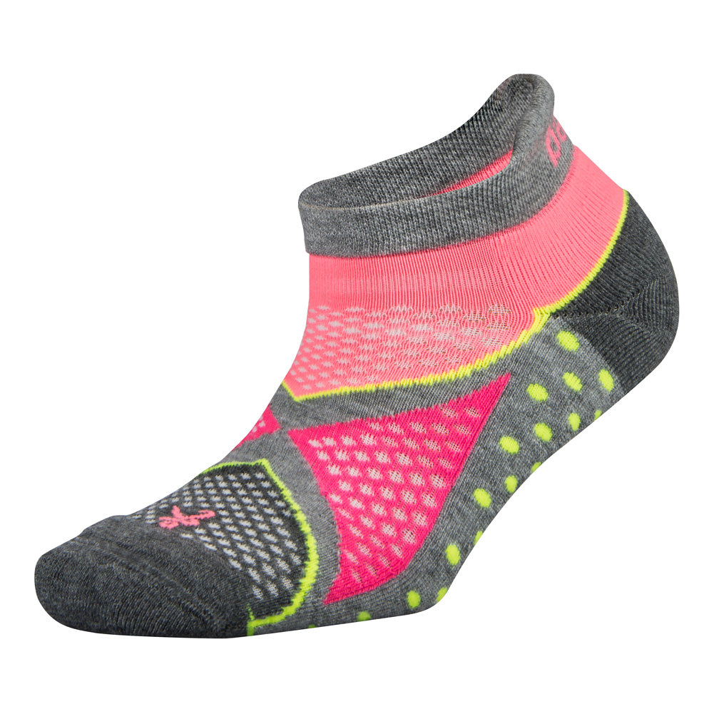 BALEGA Enduro No Show Womens Mid Grey & Sherbet Pink Running Socks (7455-0339)
