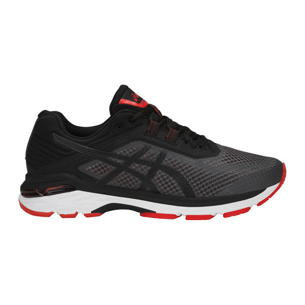 ASICS Mens GT-2000 6 Dark Grey/Black/Red Running Shoes (T805N.9590)